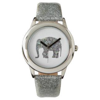 Elefante de plata colorido brillante del mosaico relojes de mano