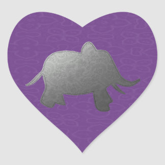 elefante de plata - púrpura pegatina en forma de corazón