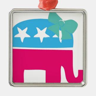 Elefante de Rebublican con el arco Adorno Navideño Cuadrado De Metal