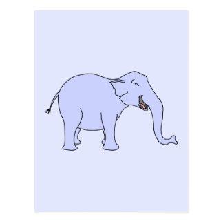 Elefante de risa azul tarjeta postal