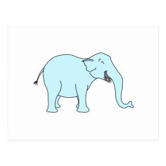 Elefante de risa de la turquesa tarjeta postal