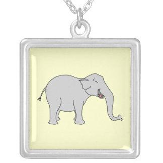 Elefante de risa gris. Historieta Colgante Cuadrado