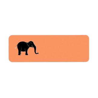 Elefante de risa negro etiqueta de remite