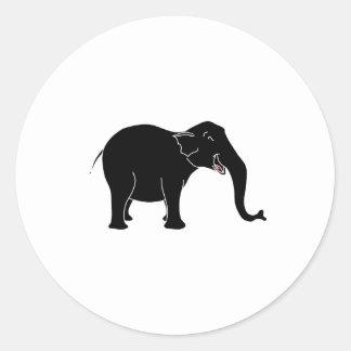 Elefante de risa negro etiquetas redondas