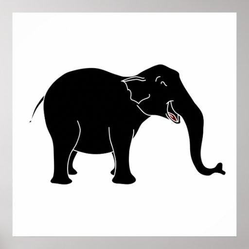 Elefante de risa negro impresiones