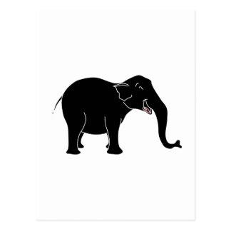 Elefante de risa negro tarjetas postales