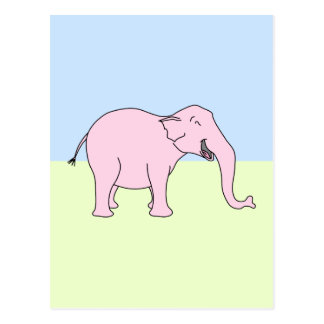 Elefante de risa rosado postales