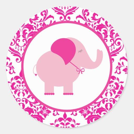 Elefante de rosas fuertes etiquetas redondas
