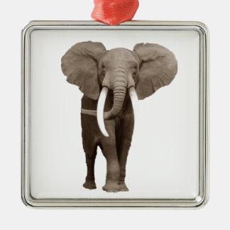 Elefante Adorno Cuadrado Plateado