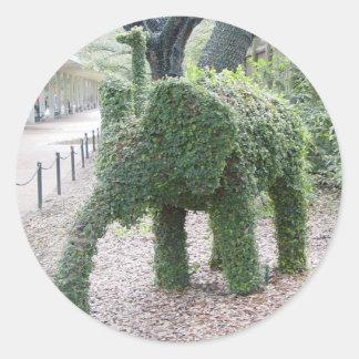 Elefante del árbol etiquetas redondas