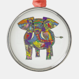 Elefante del arco iris adorno redondo plateado