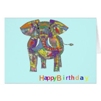 Elefante del arco iris, diseño colorido, para cual tarjeta de felicitación