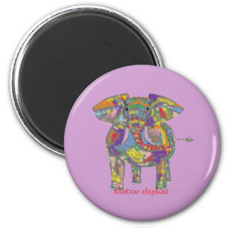 Elefante del arco iris imán redondo 5 cm