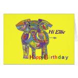Elefante del arco iris, personalizar de la tarjeta
