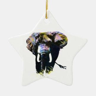 Elefante del arte pop adorno de cerámica en forma de estrella