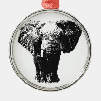 Elefante del arte pop adorno redondo plateado