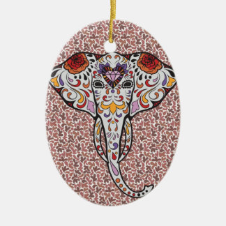Elefante del azúcar adorno navideño ovalado de cerámica
