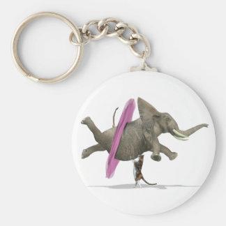 Elefante del baile del ballet llavero redondo tipo chapa