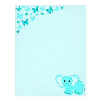 Elefante del bebé azul y papel con membrete lindos plantilla de membrete