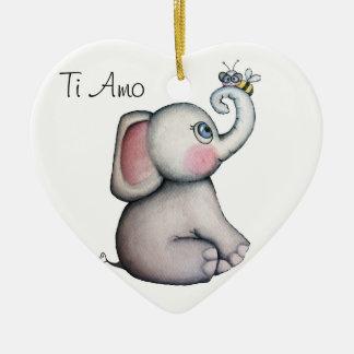 Elefante del bebé con el fondo del blanco del orna adornos de navidad