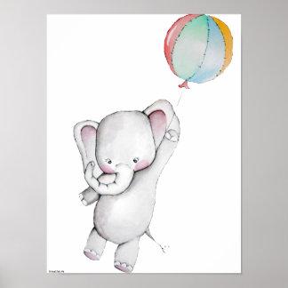 Elefante del bebé con el poster del personalizable