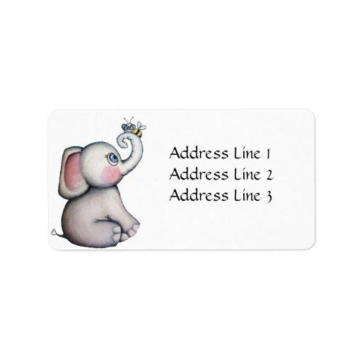Elefante del bebé con la etiqueta de dirección de