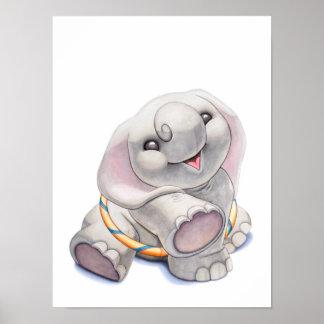 Elefante del bebé con la impresión del cuarto de n poster