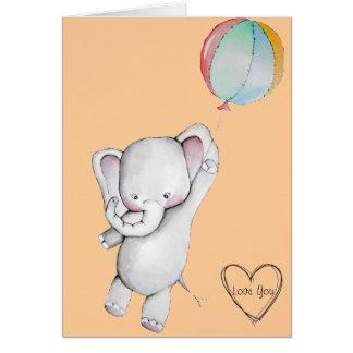 Elefante del bebé con la tarjeta de felicitación