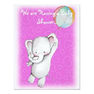 """Elefante del bebé con las invitaciones de la invitación 4.25"""" x 5.5"""""""