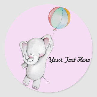 Elefante del bebé con los pegatinas del rosa del pegatina redonda