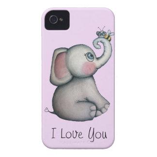 Elefante del bebé con rosa del caso del iPhone 4 d iPhone 4 Cobertura