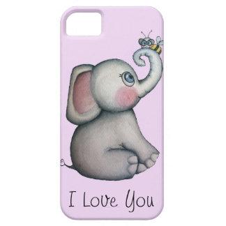 Elefante del bebé con rosa del caso del iPhone 5 iPhone 5 Carcasas