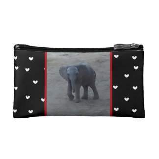 Elefante del bebé - corazones en bolso cosmético