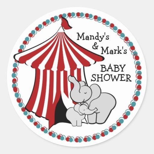 Elefante del bebé de la tienda de circo pegatinas redondas