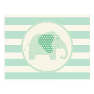 Elefante del bebé de la verde menta con los postal