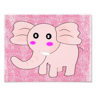 Elefante del bebé del dibujo animado en rosa en el impresiones fotograficas