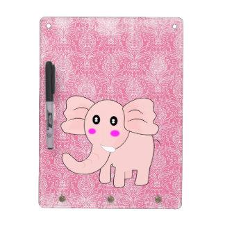 Elefante del bebé del dibujo animado en rosa en el pizarras