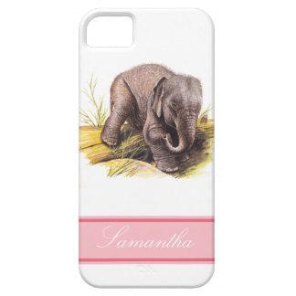 Elefante del bebé del vintage funda para iPhone 5 barely there