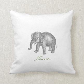 Elefante del bebé del vintage y modelo felices del cojín decorativo