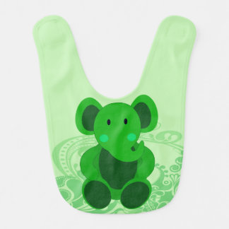 Elefante del bebé en babero verde del bebé