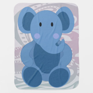 Elefante del bebé en el azul 2 - manta del bebé manta de bebé