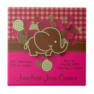 Elefante del bebé - rosa oscuro, Brown y tela Azulejo Cuadrado Pequeño