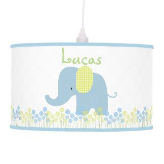 Elefante del bebé verde y azul floral lámpara de techo