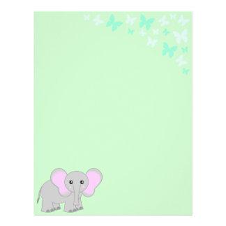 Elefante del bebé y papel con membrete lindos de l membrete a diseño