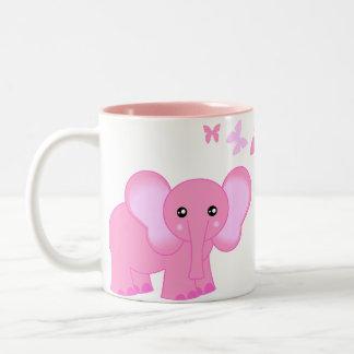Elefante del bebé y taza rosados lindos de las