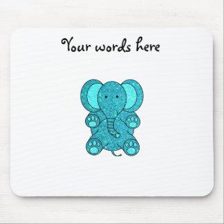 Elefante del brillo de la turquesa mouse pad