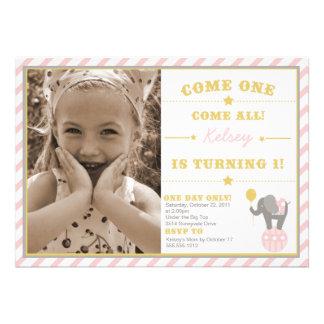 Elefante del circo del vintage - 1r cumpleaños comunicados