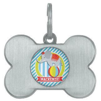 Elefante del circo en bola; Rayas de los azules Placas De Nombre De Mascota