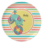 Elefante del circo; Rayas brillantes del arco iris Platos