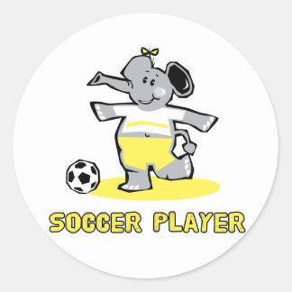 Elefante del jugador de fútbol pegatinas redondas